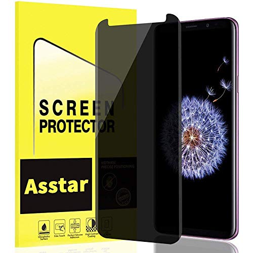 Galaxy S9 Plus Screen Protector Privacy Tempered Glass, YMH Anti Spy Anti-Scratch Bubble Free Case Friendly Easy Install 3D 9H Hardness Black Screen Protector for Samsung Galaxy S9 Plus S9+ [1 Pack]