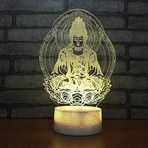Estatua de Buda, luz de noche 3D para niños, niñas, regalo, lámpara de ilusión 3D para dormitorio junto a la mesa, lámpara de mesa de escritorio con 16 colores cambiantes, regalo para niños