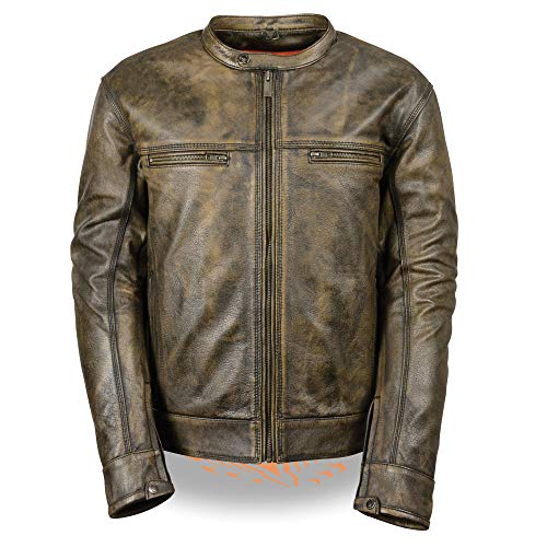 Men's Distressed Brown Leather Scooter Jacket w/Triple Stitch Detailing Motorcycle Jacket (Medium)