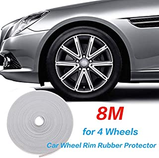 8M Car Wheel Rims Rubber Protector,Car Edge Trim Rubber Seal Protector,Vehicle Tire Guard Motors Line Maudling Decoration,...