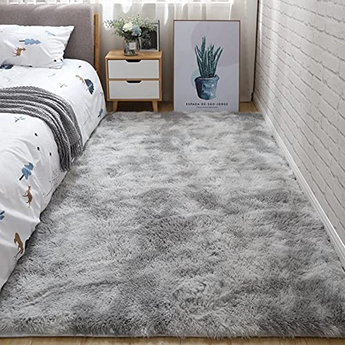 Teppich Grau Shaggy Teppich Area Rug Wohnzimmerteppich Meyecon Teppiche Bedroom Carpet Neu Hellgrau Schlafzimmer Teppiche Super weich Fluffy Kindermatte (grau, 120 x 160 cm)