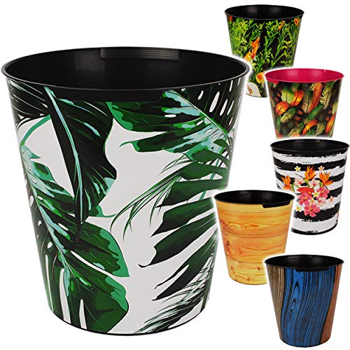 4 Stück _ Papierkörbe / Behälter - Motiv-Mix - Pflanzen & Strukturen - 10 Liter - wasserdicht - aus Kunststoff - Ø 28 cm - großer Mülleimer / Eimer - Abfallei..