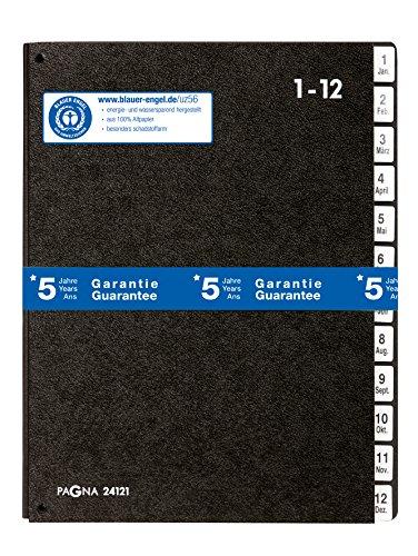Pagna Pultordner Classic (Pultmappe, 12 Fächer , 1-12/Jan-Dez) schwarz