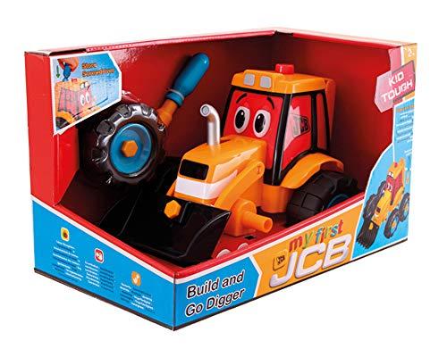 Wader 4037 - JCB Build & Go Tractor met voorschep om zelf te monteren, met bijpassend gereedschap, vanaf 2 jaar, ca. 34 cm.