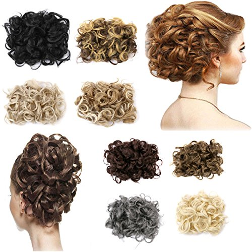 FIRSTLIKE Short Messy Curly Dish Hair Bun Extension Easy Stretch hair Combs Clip in Ponytail Extension Scrunchie Chignon Tray Ponytail Hair piece Wig Hairpieces