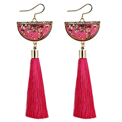 Fossrn Pendientes Mujer Largos Flecos, Pendientes Mujer Baratos Vintage Bohemia Pendientes de Gota borla (Rojo)