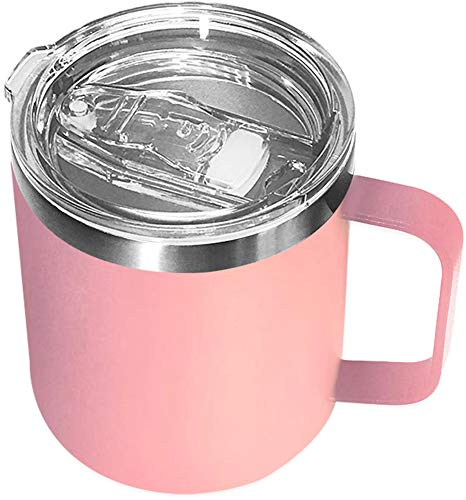 Stainless Steel Insulated Coffee Mug Tumbler with Handle 14oz Double Wall Vacuum Travel Tumbler Cup with Sliding Lid Pink