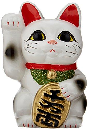 白 小判猫 4号 お金を招く右手 招き猫 常滑焼