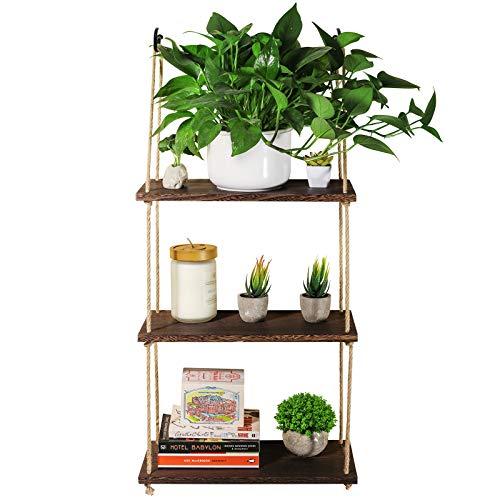 TJ.MOREE Estantes para plantas de cuerda para colgar en la pared de madera de 3 niveles, estantes de almacenamiento para decoración del hogar para interiores/cocina/baño/dormitorio (marrón oscuro)