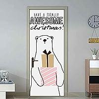 Dアステッカー3D印刷かわいいクマのポスターPVC防水全体ドアステッカーDIY壁画家の装饰粘着性手作り-95cm(W)* 215cm(H)-95x215厘米