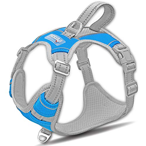Dog Harness for Large Dogs No Pull,Easy Walk Harness,3M Reflective No-Choke Dog Vest ,Adjustable Soft Padded Pet Vest with Control Handle for Medium Large Dogs(Blue,M)