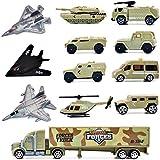 deAO Ensemble de Jouets de d'armée avec véhicules Militaires variés de l'armée, 12 pièces - Bombardier furtif, Char, hélicoptère, Jets et Plus!