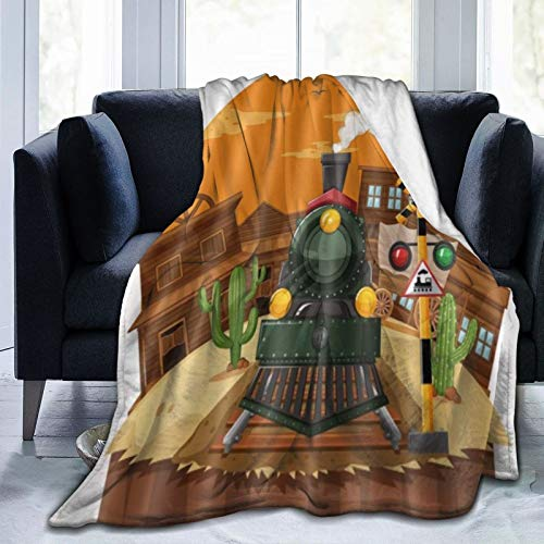 QIUTIANXIU Mantas para Sofás de Franela 150x200cm Super NY City Graffiti Boom Kids Texas West Orange Town Sunset Train Manta para Cama Extra Suave