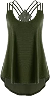 CUCUHAM Ladies' Bandages Sleeveless Vest Top High Low Notes Strappy Tank Tops