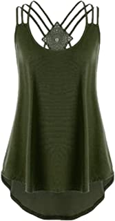 Ladies' Bandages Sleeveless Vest Top High Low Notes Strappy Tank Tops