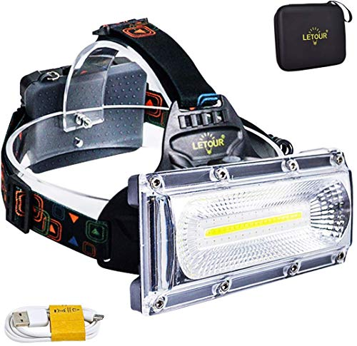 Head Torch,LETOUR headlamp,2500Lumens COB Super Bright Rechargeable LED Headlamps Waterproof Work Light for Camping, Fishing, Jogging, Hiking, Bigger Battery Container, Super Long Working Time