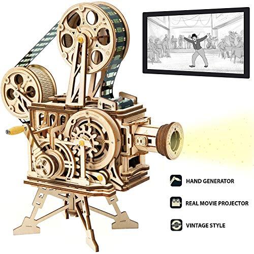 ROKR Vitascope Holzpuzzle, Mechanische Modellbausätze, Technischer Modellbausatz, Hand-Generator Klassischer Filmprojektor für Erwachsene und Jugendliche