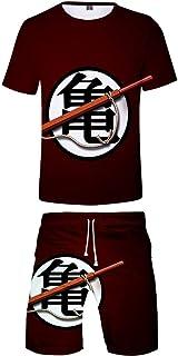 Silver Basic Conjunto de Camiseta y Pantalones Cortos Dragon Ball para niños Tops de Manga Corta de Verano de Goku