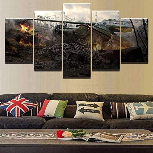 cuadro en lienzo impresión de 5 piezas - Enmarcado y listo para colgar Guerra Mundial de Tanques 150x80cm