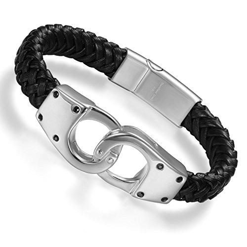 Cupimatch Herren Armband, geflochtenes Leder Armband mit Edelstahl Handschellen verbinden Design Armreif Kordelkette, Magnetische Schnalle, schwarz Silber