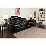 Flash Furniture Reel Comfort Series 2-Seat Reclining Black LeatherSoft Theater Seating Unit with Straight Cup Holders