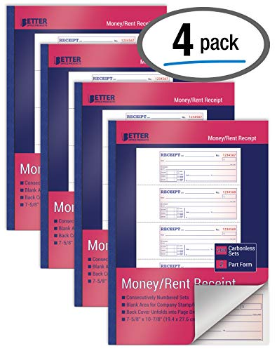 3-Part 100 Sets per Book White//Canary//Pink,7 5//8 x 10 7//8 Pack Of 3 Carbonless Adams Money and Rent Receipt Book