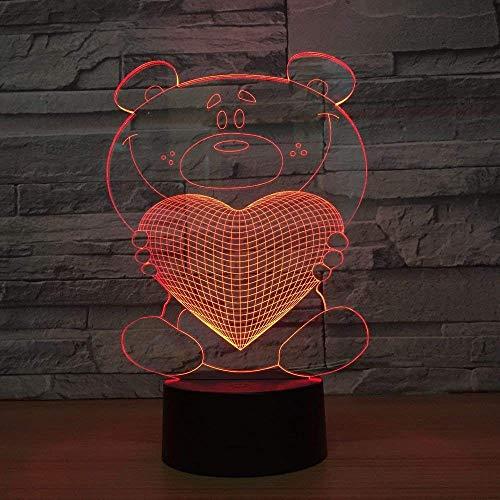 3D Led Optische Illusie Lampen Leuke Beer Knuffelen Hart Nachtlamp, 7 Kleuren Touch Art Sculptuur Lampen met USB Kabels Slaapkamer Bureau Tafel Decoratie Lamp