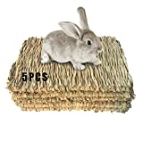 Grass Mat Woven Bed Mat for Small Animal 5 Grass Mats Bunny Bedding Nest Chew Toy Bed Play Toy for...