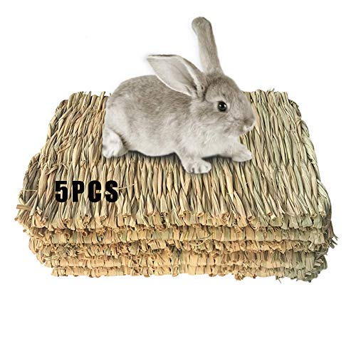 Grass Mat Woven Bed Mat for Small Animal 5 Grass Mats Bunny Bedding Nest Chew Toy Bed Play Toy for Guinea Pig Parrot Rabbit Bunny Hamster Rat