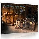 Tableau toile montée d'atelier Vintage Amérique Auto Route 66USA mécanicien Garage Wallsticker Canvas Picture Print amvfpp10518