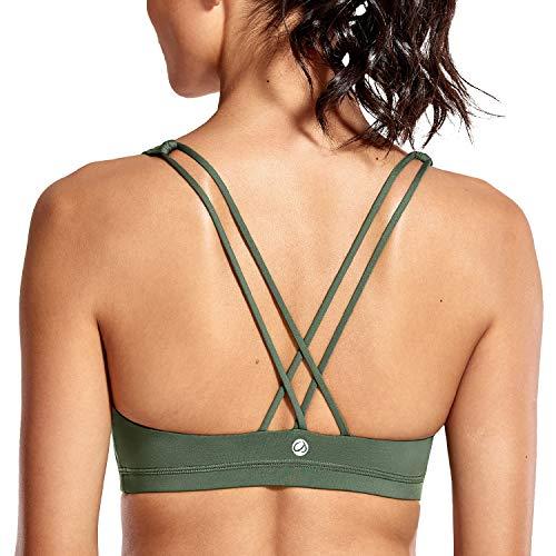 CRZ YOGA Damen Yoga Sport BH - Gekreuzte Rücken,Abnehmbare Padded Dschungelgrün XS