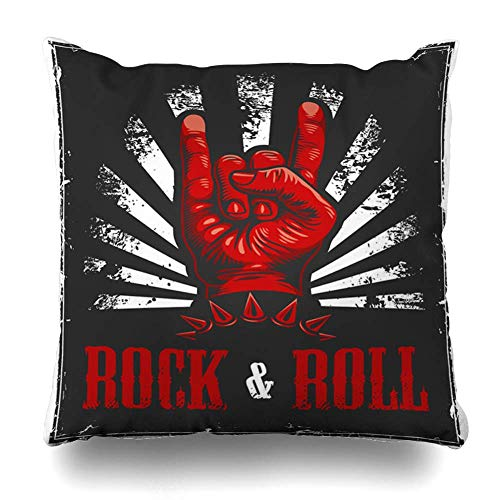 Cubierta de Almohada de Tiro Pernos Cuadrados Mano Rock Roll Arm Rojo Concierto Cultura Diablo Electricidad Funda de cojín Decoración para el hogar Funda de Almohada 18 Pulgadas