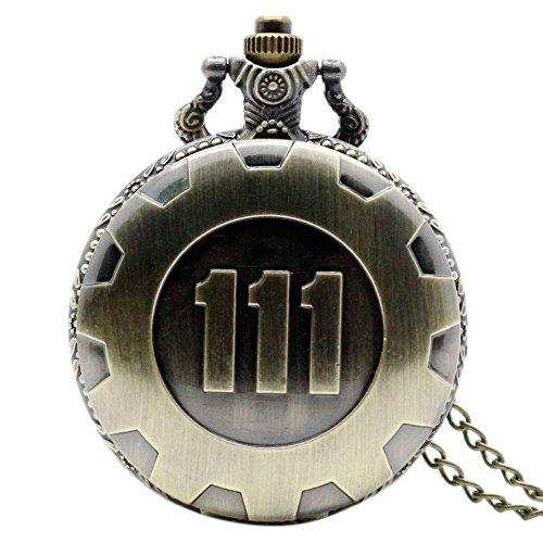 ULOOIE Vintage Quarzkette Taschenuhr Fallout 4 Thema Anhänger Vault 111 Bronze