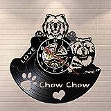 BFMBCHDJ Chow Chow Fall in Love Vintage Vinyl Record Reloj de pared Reloj de pared Raza de perro Regalos para el dueño del perro con LED 12 pulgadas