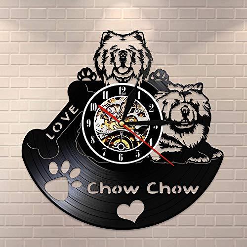 BFMBCHDJ Chow Chow Verlieben Vintage Vinyl Schallplatte Wanduhr Wanduhr Hunderasse Geschenke Für Hundebesitzer Mit LED 12 Zoll
