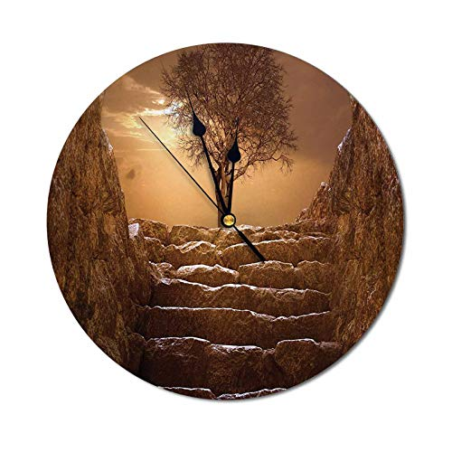 Quartz Wall Clocks A Tree at Entrance with Stone Stairs Sunlight Cloudy Sky Winter Landscape Monochromic View Modern Silent Quartz Wall Clock Perfect for Amounting on The Wall Brown - 9.84 Inch