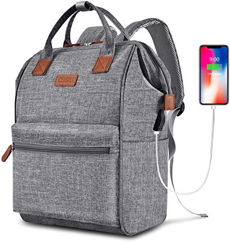 Travel Laptop Backpack, Wide Open Work Bag Lightweight Laptop Bag with USB Charging Port, Anti Theft Business Backpack, Water Resistant School Rucksack Gifts for Men Women (15.6' Grey)