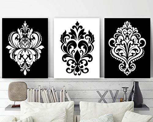 Amazon Com Black White Wall Decor Damask Bedroom Art Canvas Or Print Bathroom Home Set Of 3 Artwork Posters Prints