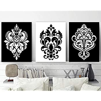 Amazon Com Black White Wall Decor Damask Decor Black White Bedroom Wall Art Canvas Or Print Black White Bathroom Decor Home Decor Set Of 3 Artwork Posters Prints