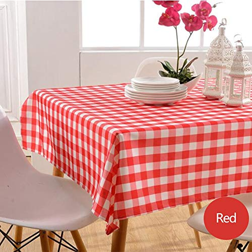 Nappe de tablePetite nappe carrée Tissu de table à manger en polyester imperméable et résistant à l'huile,red,130cm*180cm