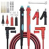 COODEN Juego de Cables de Prueba Electrónica de 17, Multímetro Digital Cables con Pinzas de cocodrilo de Las sondas del Multímetro Puntas reemplazables CW06