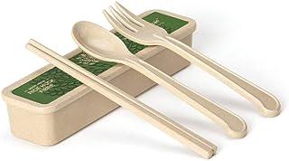 ERTONGHUANBAOCANJU Children's Practice Rice Husk Portable Tableware Spoon Chopsticks Fork Set (Size : M)