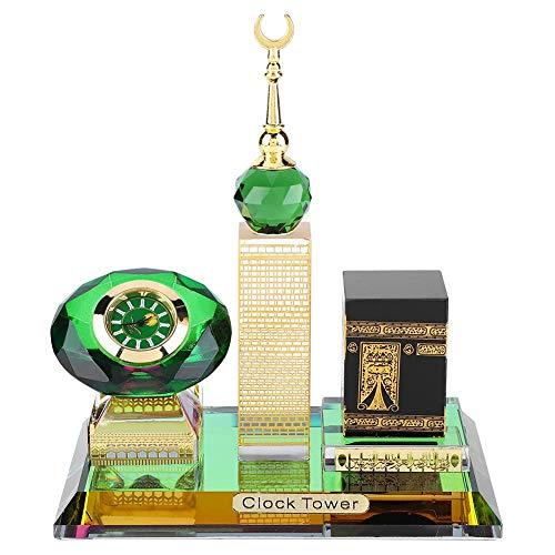 Kristall Sammlerfiguren für Wohnkultur Muslim Kaaba Clock Tower Modell für Desktop Ornament Islamische Architektur