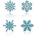 Gudotra 48pcs Copo de Nieve Plástico Colgante Adorno Azul Claro con Purpurina Decoración de Navidad Decoración para Árbol de Navidad (Azul Claro)