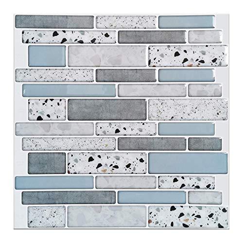 Art3d Pelar y pegar ladrillo cocina autoadhesivo pared antisalpicadura Azulejo diseño de piedra, 10 hojas (azul)