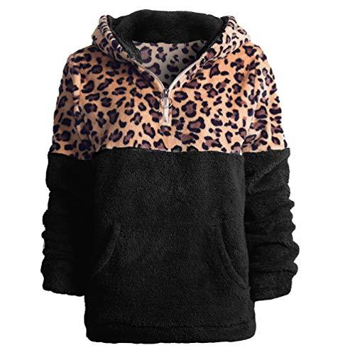 ZKOOO Donna Felpa con Cappuccio Manica Lunga Caldo Peluche Pullover Leopardata Sweatshirt Cerniera Cappotto Outwear Moda Casual Giacca con Tasca