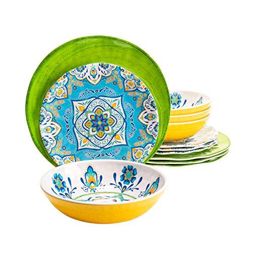 Juego de vajilla de melamina, 12 unidades, juego de cuencos de platos coloridos, duradero, apto para lavavajillas, a prueba de roturas, no microondas, no horno (platos verdes y tazones amarillos)