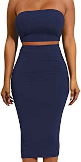 Enggras Womens Sexy Tube Bandeau Backless Crop Top Bodycon Midi Skirt 2 Pieces Dress
