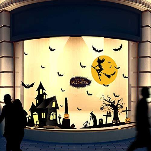 Transwen Fensterbild Halloween Sticker Fenstersticker Fensterdeko Wanddeko Halloweensdeko Wandaufkleber Wandtattoo Wandsticker Halloween Kürbisse Festival Aufkleber (A)