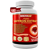 Pure Saffron Supplement Appetite Suppressant-180 Powerful Golden Saffron Extract Capsules for Healthy Natural Weight Loss-Hunger Suppression- Metabolism Booster- Anti-Anxiety- Eye Support